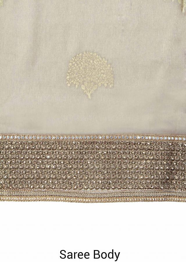 Half and half saree in pink and beige with embroidered border only on Kalki