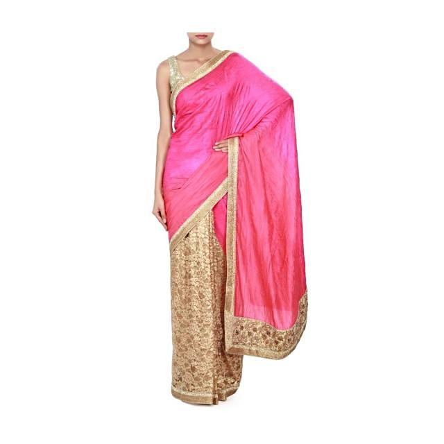 Half and half saree periwinkle pink and beige with kundan border only on Kalki