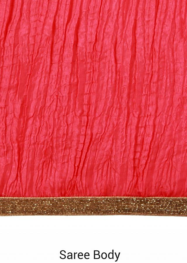 Half and half saree in pink and coral crushed silk only on Kalki