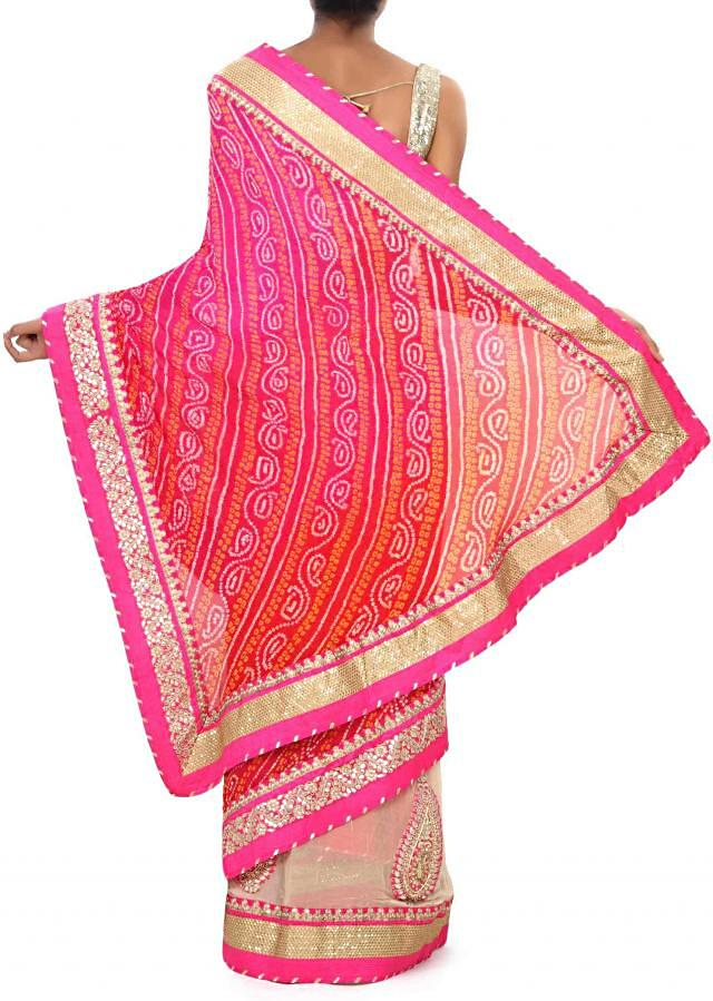 Half and half saree in pink and cream in gotta patch work only on Kalki