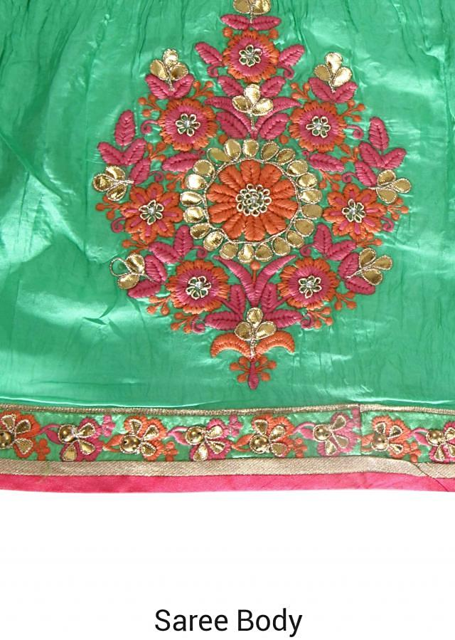 Half and half saree in pink and green with resham butti only on Kalki