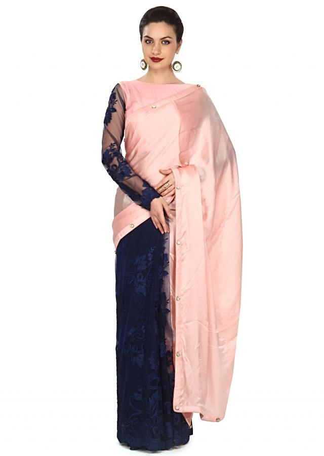 Half and half saree in pink and navy blue with fancy stone only on Kalki