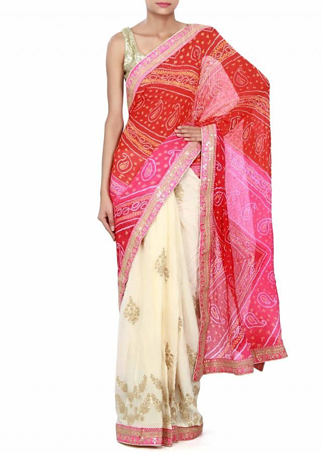 Half and half saree in pink and white bandhani with zari embroidery only on Kalki