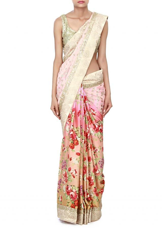 Half and half saree in pink enhanced in croquet lace only on Kalki