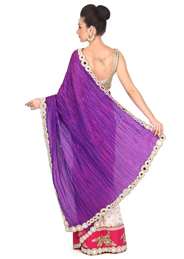 Half and half saree in purple and white with mirror work only on Kalki