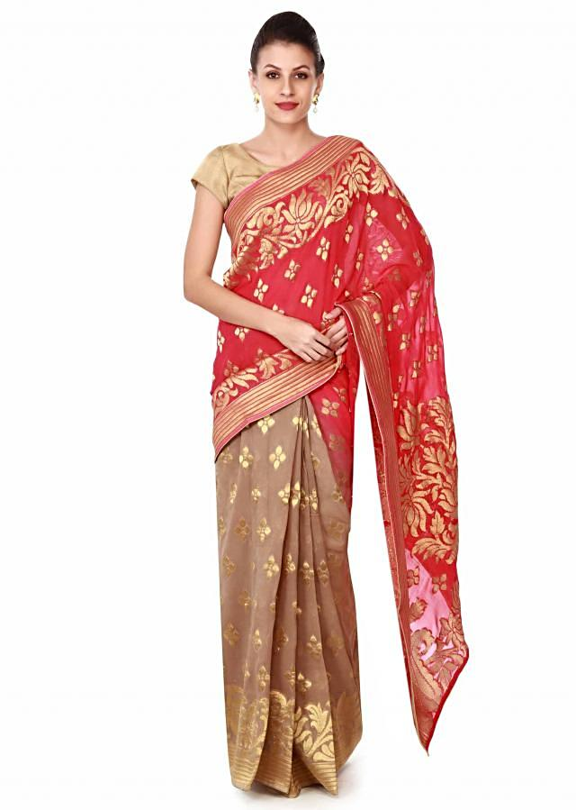 Half and half saree in rani pink and beige with weave only on Kalki