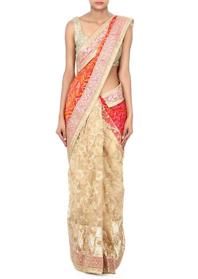 Half and half saree in red and beige adorn in gotta patti lace embroidery only on Kalki