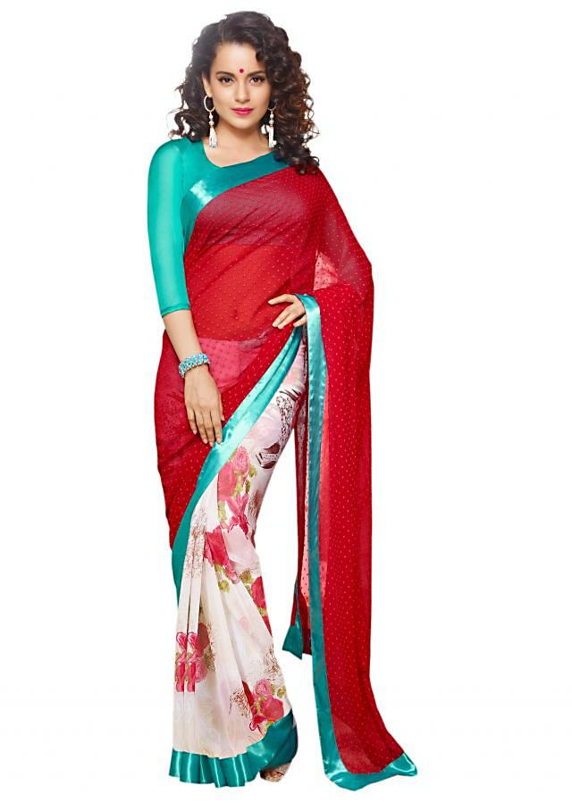Half and half saree in red and off white printed in rose motif