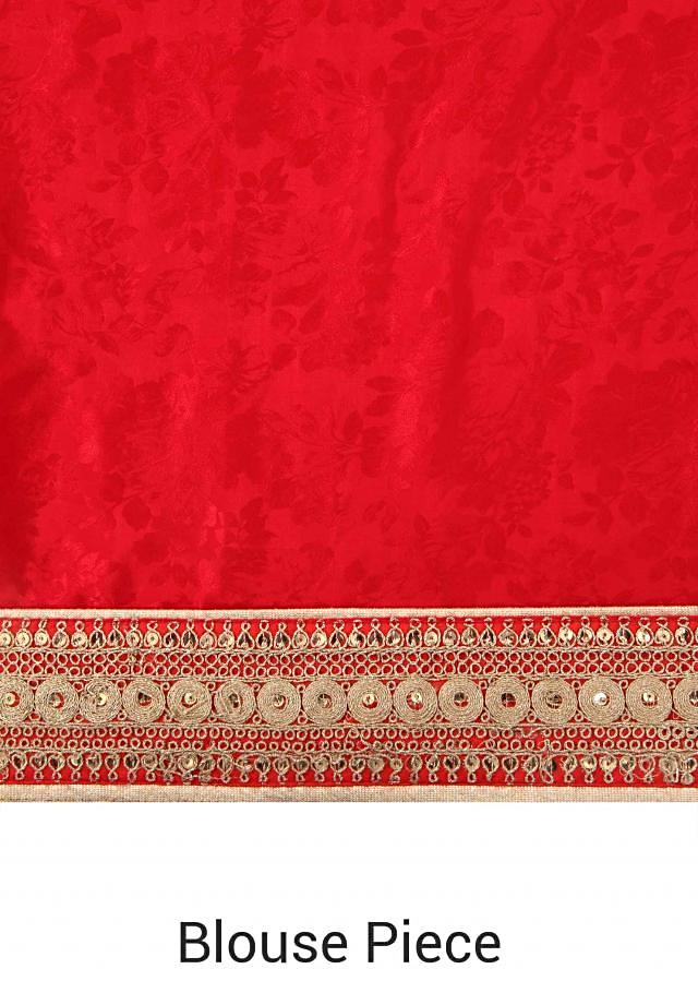Half and half saree in red and beige with zari and sequin embroidery only on Kalki