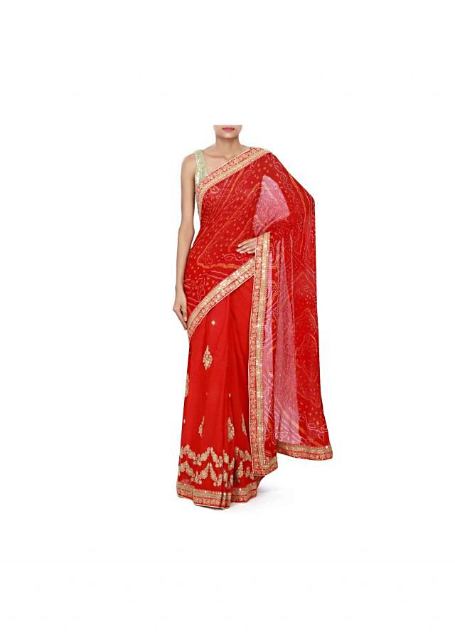 Half and half saree in red bandhani with zari embroidery only on Kalki