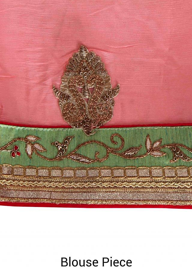 Blooming pink half saree in sequin and zardosi embroidered border only on Kalki