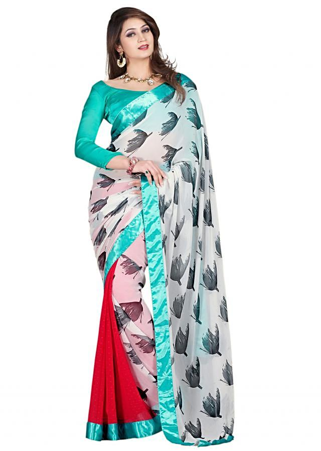 Half and half saree in white and red enhanced with floral motif