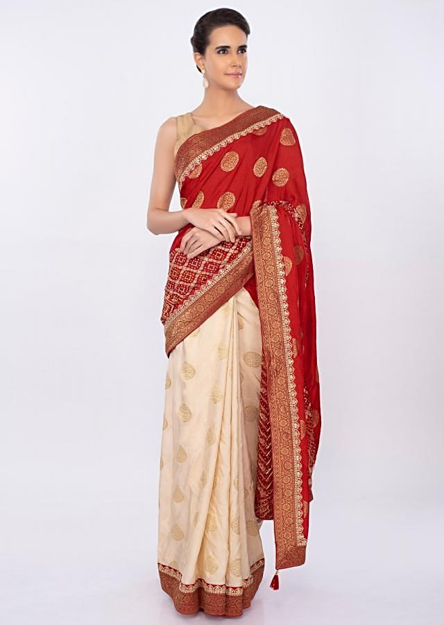 Half and half saree with bandhani printed pallo only on kalki
