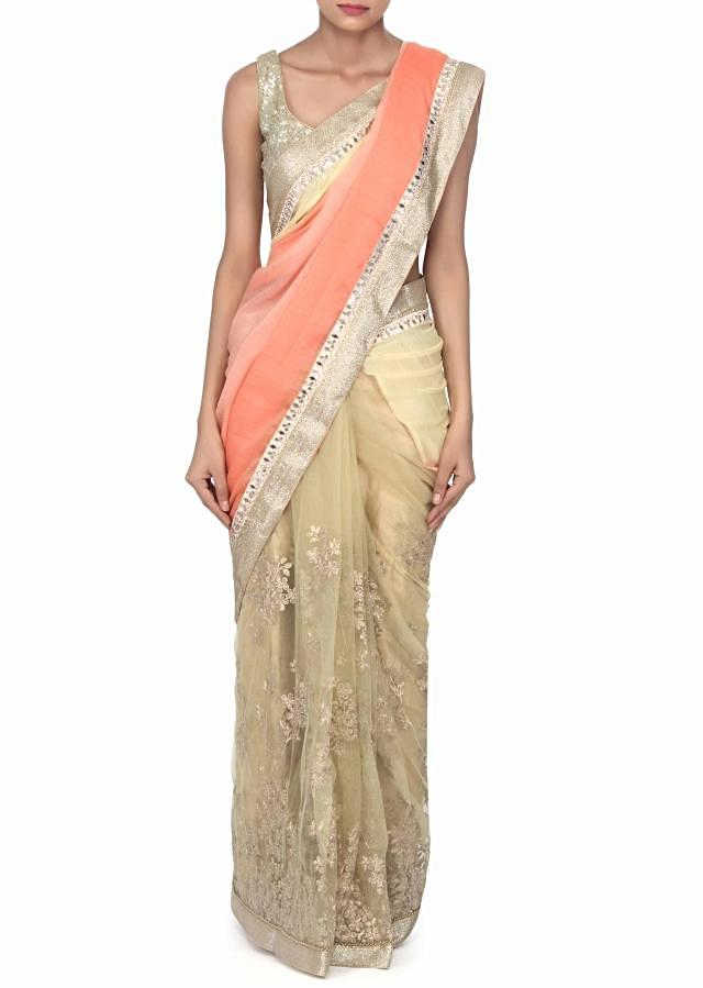 Half and half shaded saree adorn in zari embroidery only on Kalki