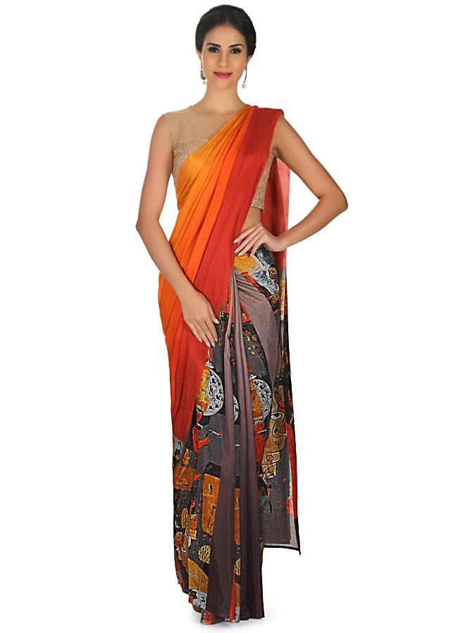 Half and half shaded saree in cotton silk with abstract only on Kalki