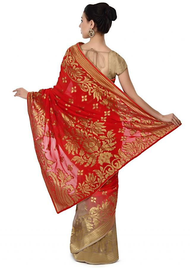 Half and have saree in red and beige with weaved border only on Kalki