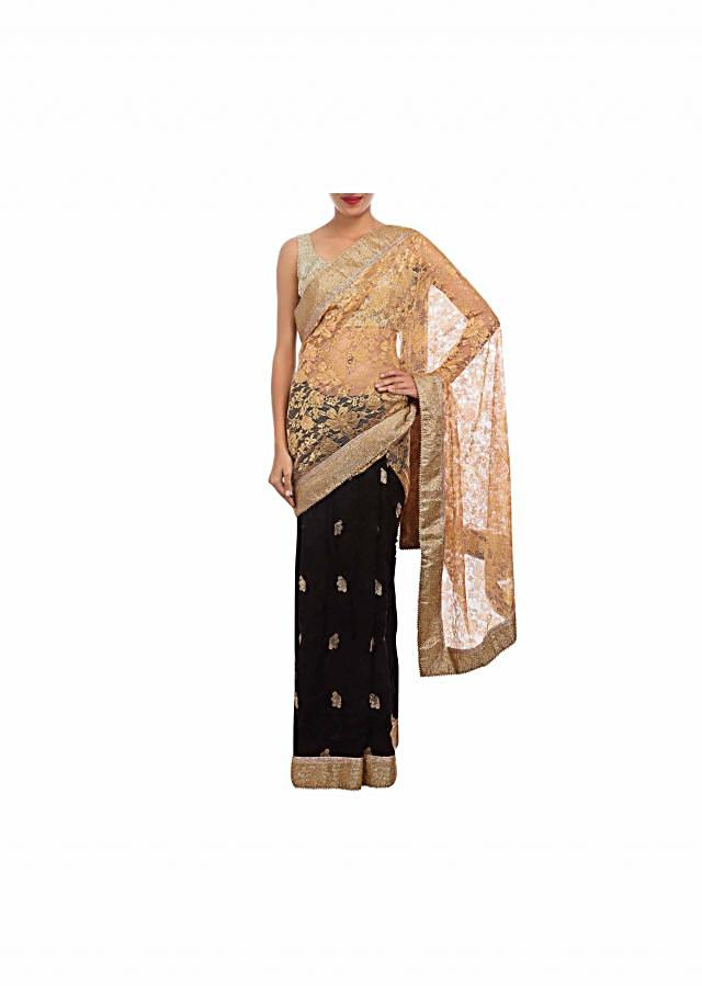 Half saree in black and gold enhanced in lace and resham embroidery only on Kalki
