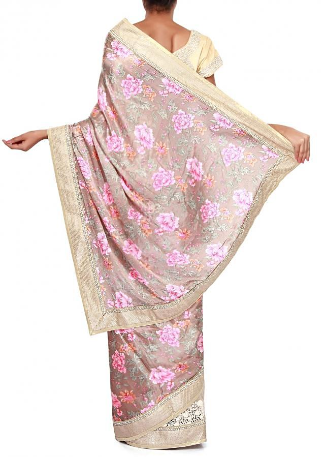 Half and half floral print saree adorn in thread and sequin embroidery only on Kalki