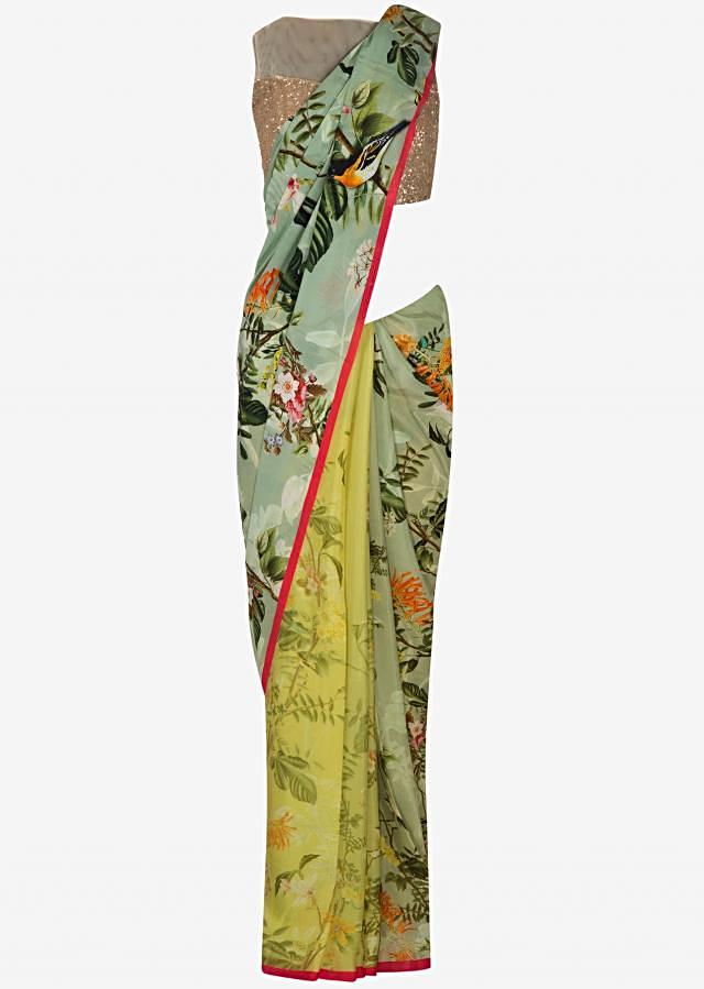Half and half saree in blue grey and lime yellow featuring with print only on Kalki