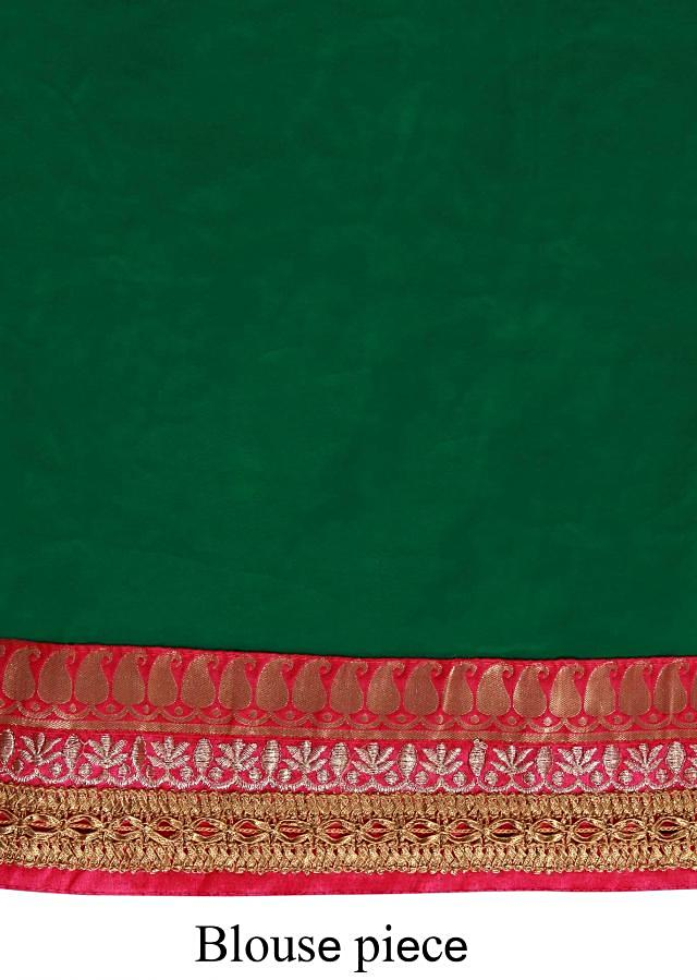 Half and half saree in green and pink adorn in brocade border only on Kalki