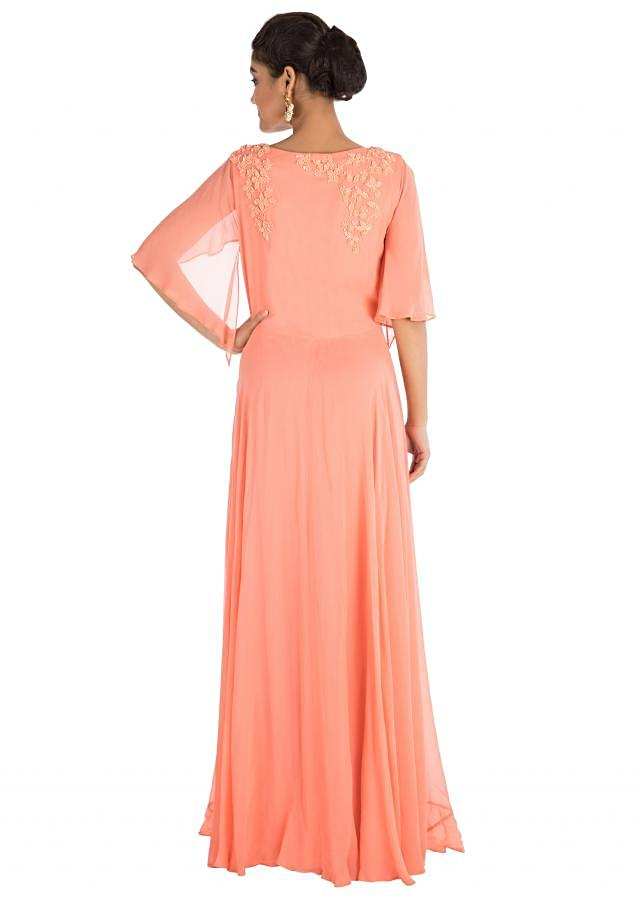 Apricot Backside Cape Gown With Hand Embroidery Online - Kalki Fashion