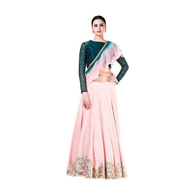 Bottle Green And Blush Pink Lehenga With With Hand Embroidery And A Shaded Frill Dupatta Online - Kalki Fashion