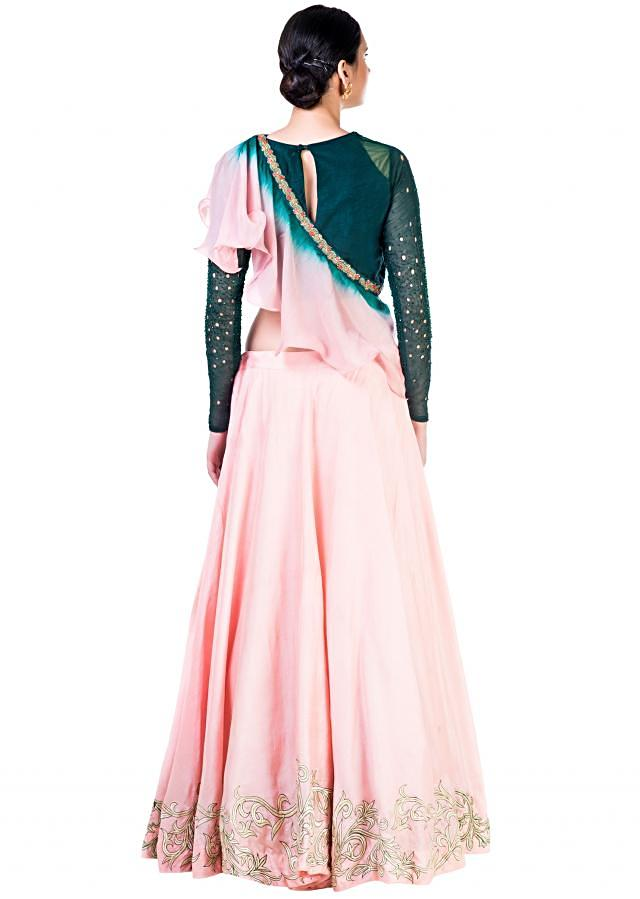 Hand Embroidered Bottle Green and Blush Pink Lehenga with a Shaded Frill Dupatta