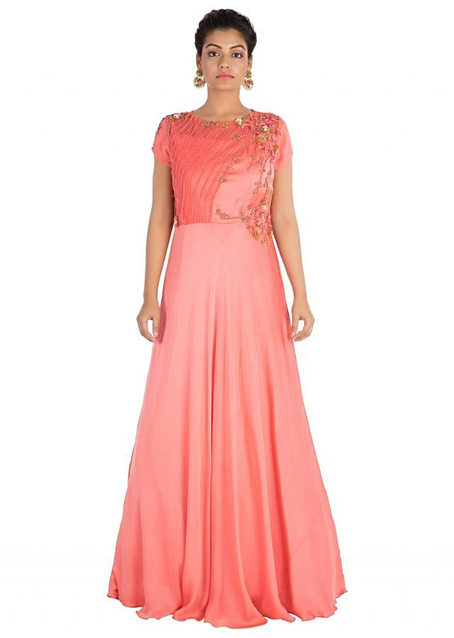 Bright Blush Pink Dress With Hand Embroidery Online - Kalki Fashion