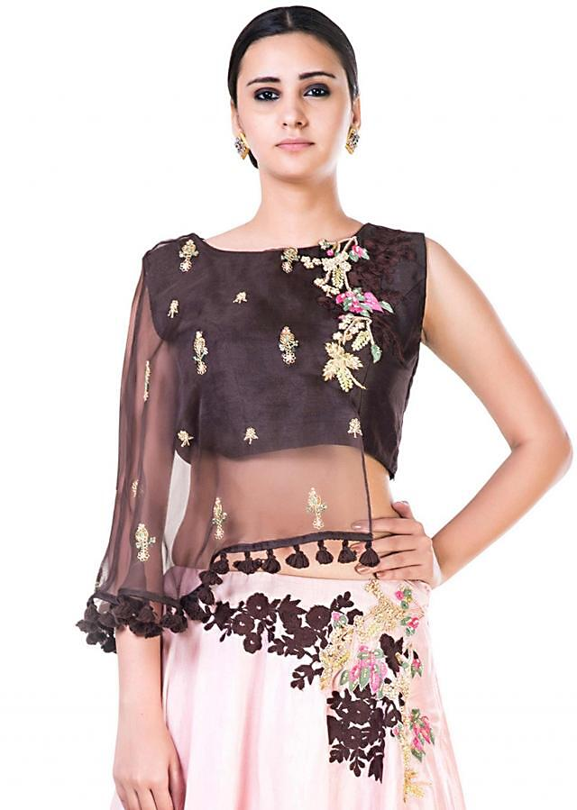 Brown And Blush Pink Asymmetrical Cape Lehenga With Hand Embroidery Work Online - Kalki Fashion