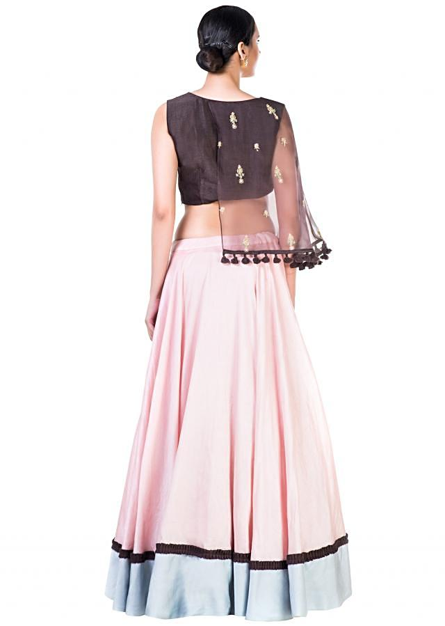 Hand Embroidered Brown and Blush Pink Asymmetrical Cape Lehenga