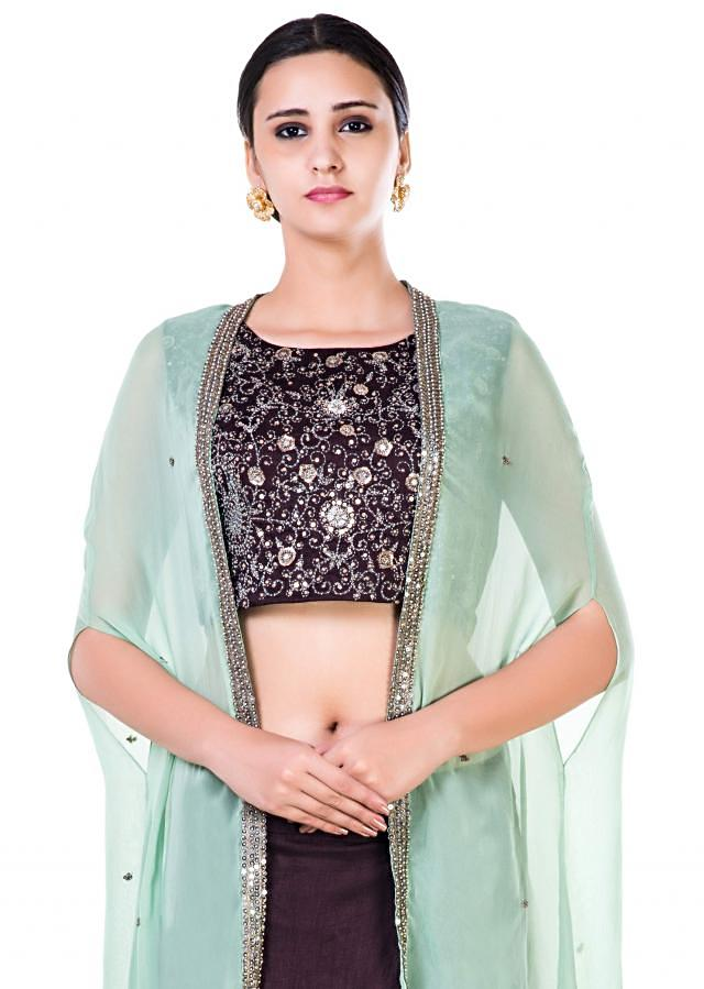 Hand Embroidered Brown and Green Cape Crop Top and Brown Draped Skirt Set