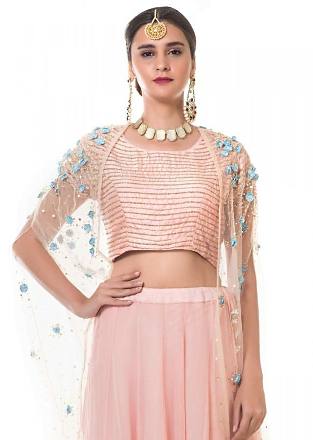 Pink And Blue Shaded Lehenga And Blouse Set With A Hand Embroidered Cape Online - Kalki Fashion