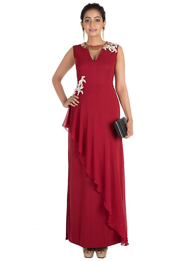 Crimson Red Long Dress With Hand Embroidery Online - Kalki Fashion