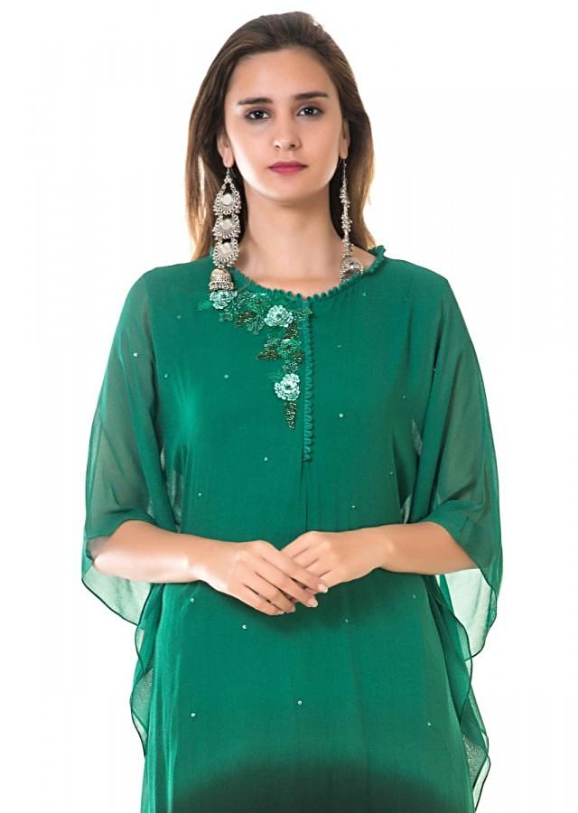 Green And Black Shaded Kaftan With Hand Embroidery Online - Kalki Fashion