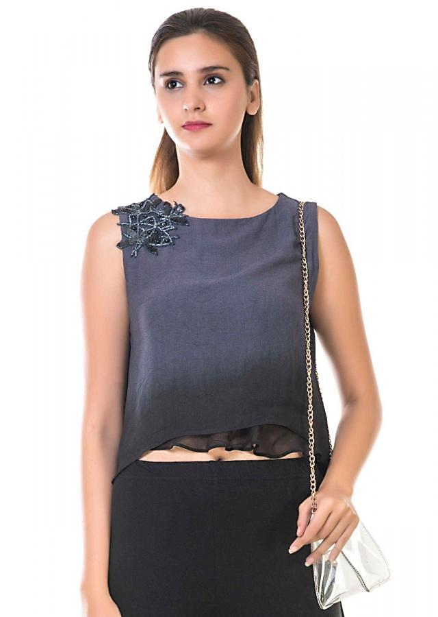 Grey And Black High Low Layered Tunic With Hand Embroidery Online - Kalki Fashion