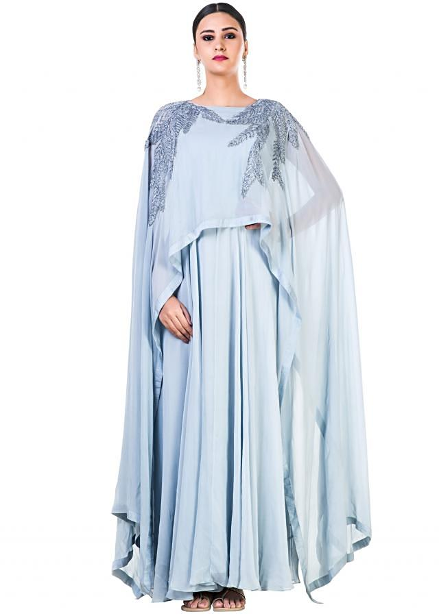 Hand Embroidered Ice Grey Long Cape Style Gown