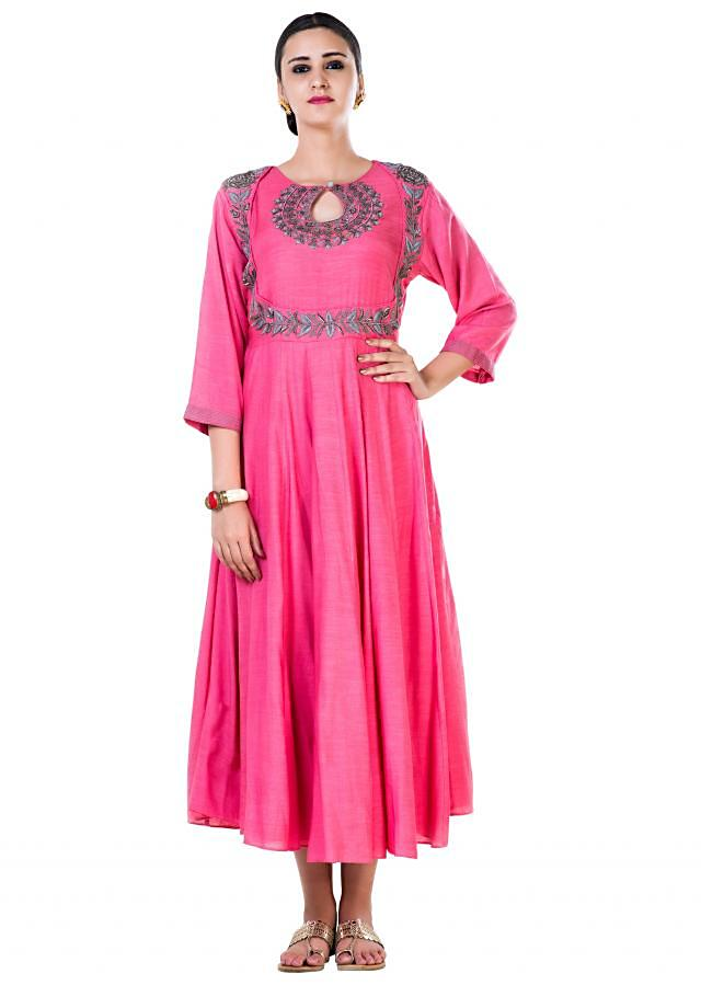 Hand Embroidered Leaf Pink Tunic