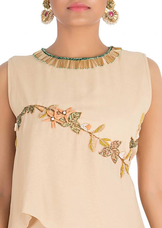 Light Beige Double Layered Dress With Hand Embroidery Online - Kalki Fashion
