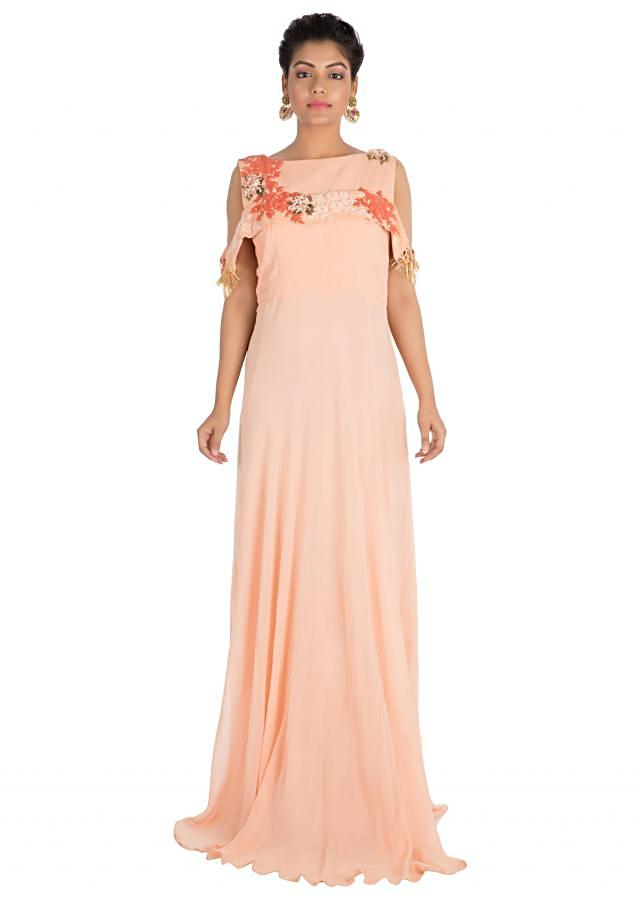 Light Peach Long Cold Shoulder Dress With Hand Embroidery Online - Kalki Fashion