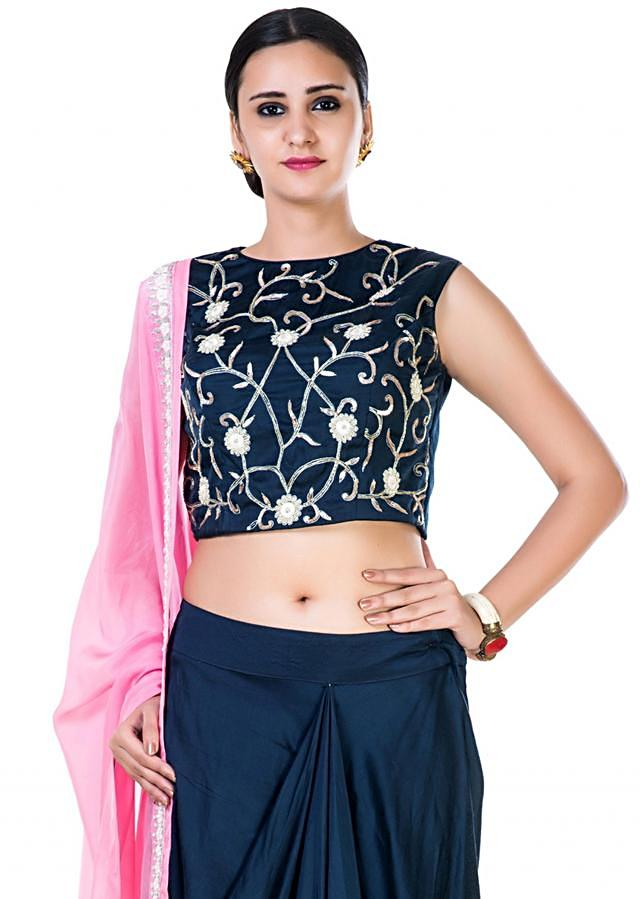 Hand Embroidered Navy Blue Crop Top and a Draped Skirt with a Pink Dupatta