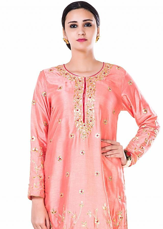 Hand Embroidered Peach Gota Work Palazzo Suit Set