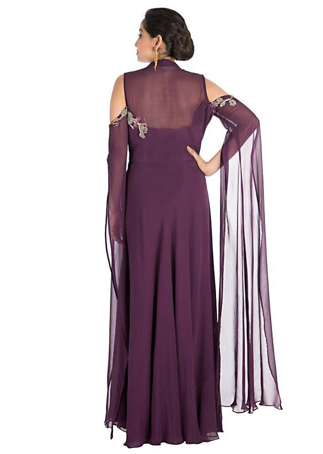 Plum Colour Cold Shoulder Dress With Long Sleeves With Hand Embroidery Online - Kalki Fashion