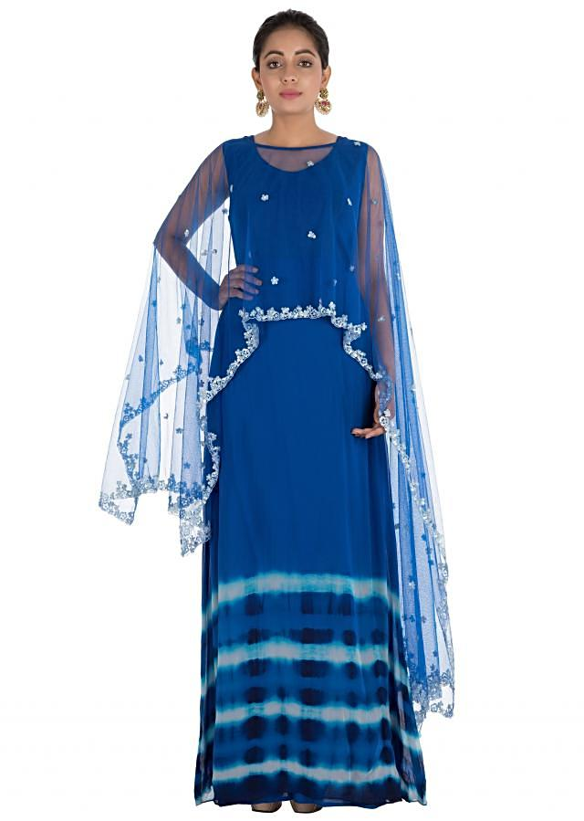 Royal Blue Tie & Dye Cape Gown With Hand Embroidery Online - Kalki Fashion