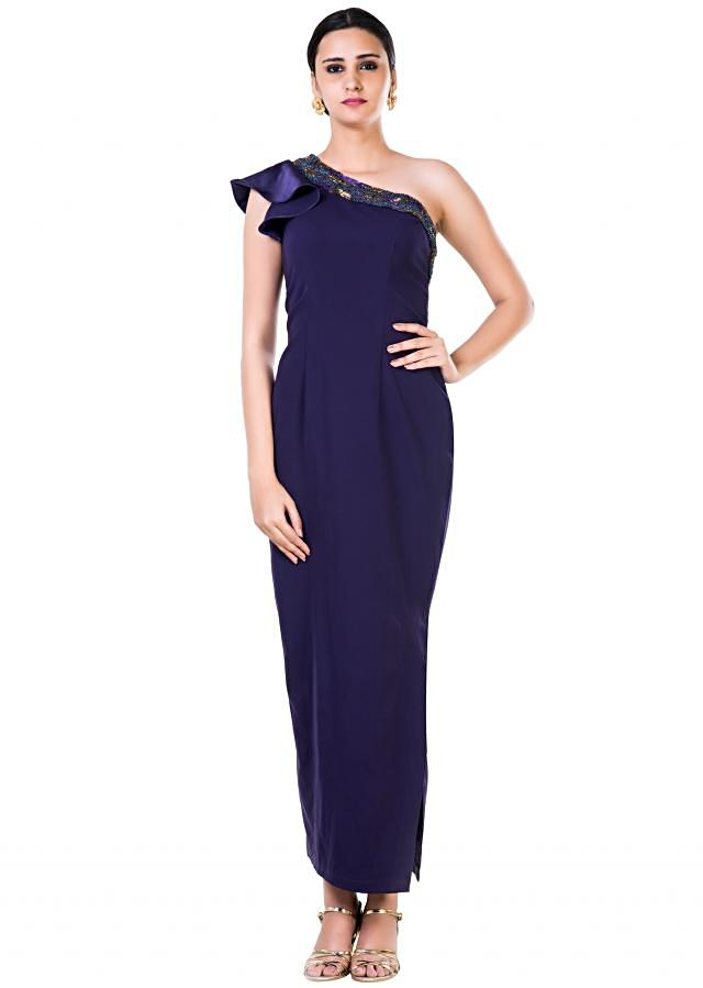 Hand Embroidered Single Shoulder Ruffle Sleeves Purple Gown