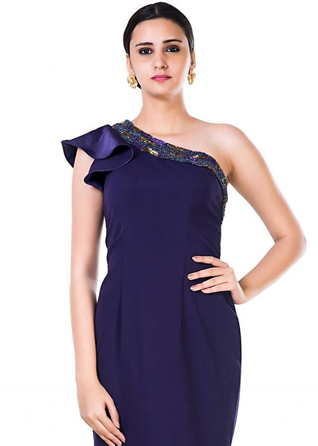 Purple Gown With Hand Embroidered Single Shoulder Ruffle Sleeves Online - Kalki Fashion