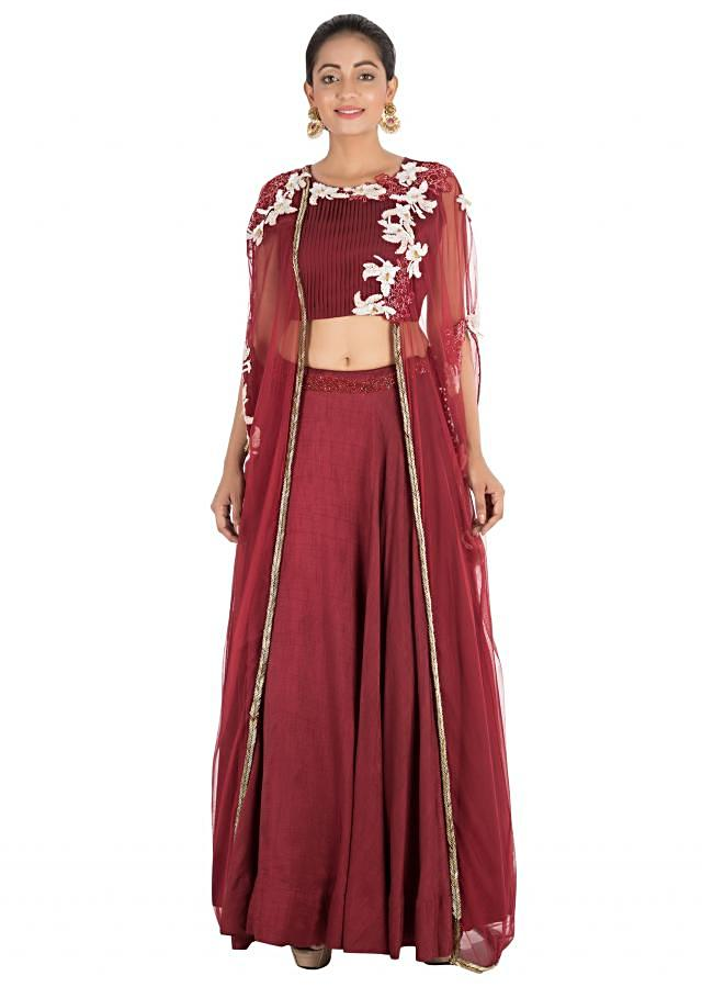 Wine Lehenga With Attached Jacket Style Cape With Hand Embroidery Online - Kalki Fashion