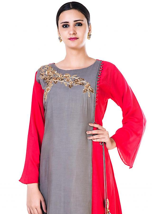 Hand Emroidered Grey and Red Gown