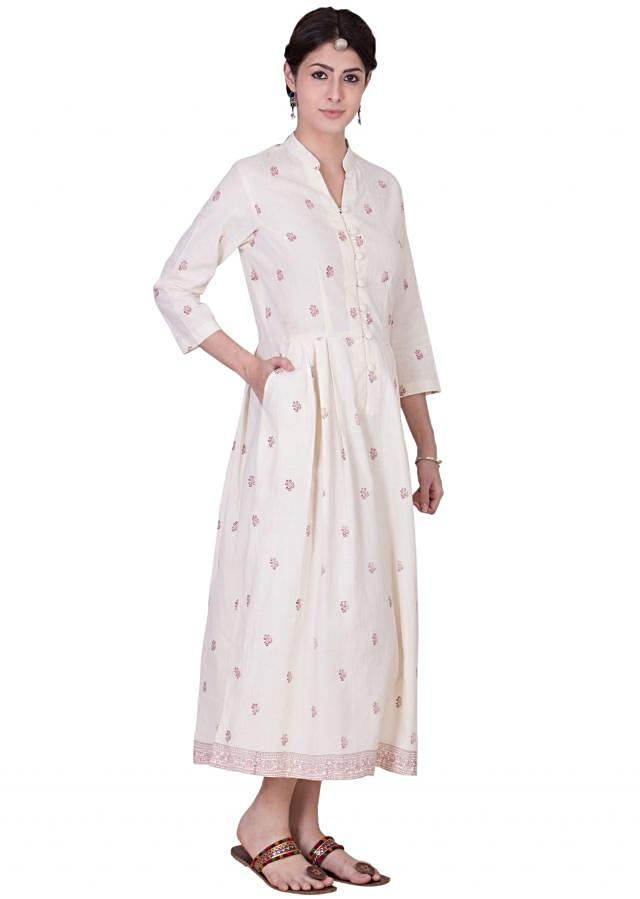 Hand printed off white cotton dress with band style notched neckline