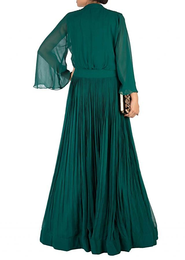 Hand Embroidered Bottle Green Flare Sleeve Gown