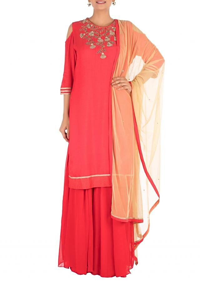 Hand Embroidered Cold-Shoulder Tomato Red Pallazo Set